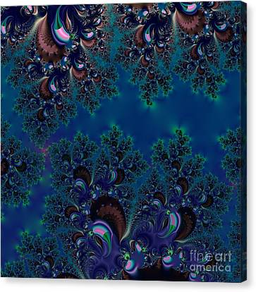 Midnight Blue Frost Crystals Fractal Canvas Print