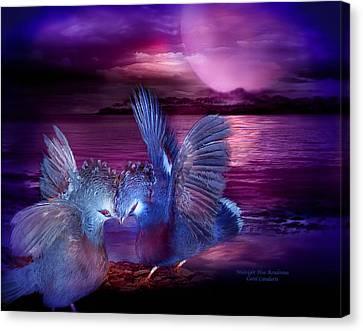 Midnight Blue Rendevous Canvas Print by Carol Cavalaris