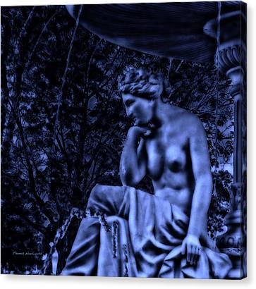 Midnight By The Fountain Canvas Print by Thomas Woolworth