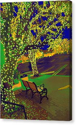 Midnight Lighting Highland Park Texas Canvas Print by ARTography by Pamela Smale Williams
