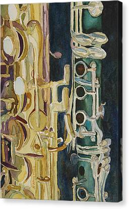 Saxophone Canvas Print - Midnight Duet by Jenny Armitage