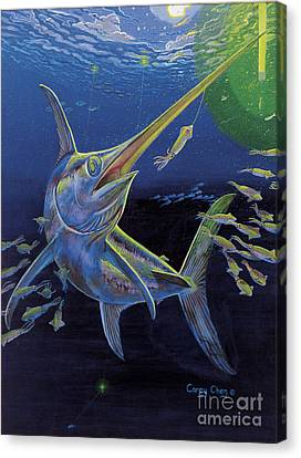 Squid Canvas Print - Midnight Encounter Off0023 by Carey Chen