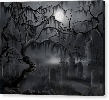Midnight In The Graveyard  Canvas Print by James Christopher Hill