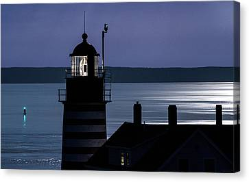 Canvas Print featuring the photograph Midnight Moonlight On West Quoddy Head Lighthouse by Marty Saccone