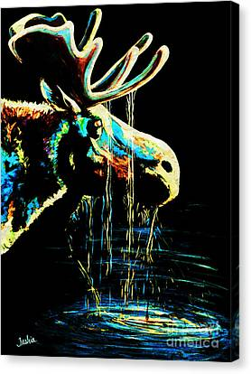 Animal Abstract Canvas Print - Midnight Moose Drool  by Teshia Art