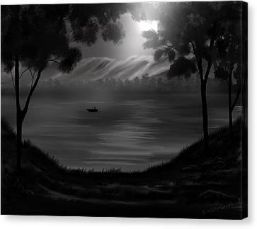 Midnight On The Lake Canvas Print by Steve Hermann