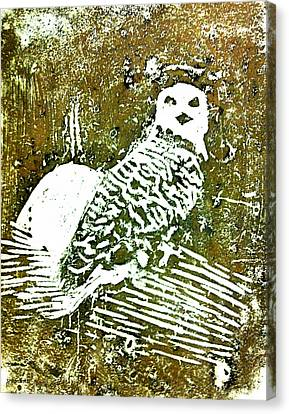 Canvas Print featuring the painting Midnight Owl by Shabnam Nassir