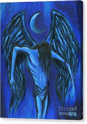 Canvas Print featuring the painting Midnight by Roz Abellera Art