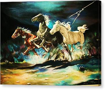Midnight Stampede Canvas Print by Al Brown
