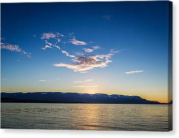 Midnight Sun, Eyjafjordur, Akureyri Canvas Print by Panoramic Images