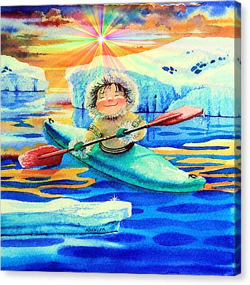 Midnight Sun Kayaker Canvas Print by Hanne Lore Koehler