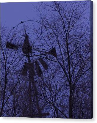 Midnight Windmill Canvas Print by Todd Sherlock