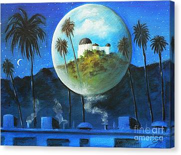 Canvas Print featuring the painting Midnights Dream In Los Feliz by S G