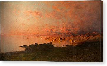 Midsummer Night, Lofoten, Norway Canvas Print