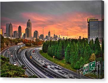 Scad Canvas Print - Midtown Atlanta Autumn Sunset Art    by Reid Callaway