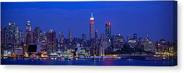 Midtown Manhattan From Nj, Night, New Canvas Print by Panoramic Images