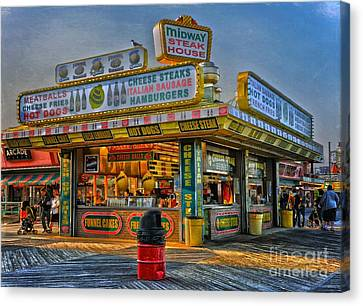 Canvas Print featuring the photograph Midway Steak House by Debra Fedchin