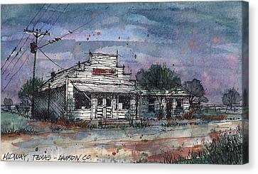 Canvas Print featuring the mixed media Midway Texas Grocery by Tim Oliver