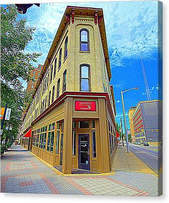 Midwest Flat Iron Building Canvas Print by Garry Schmidt