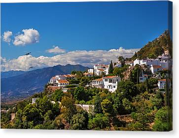 Mijas. White Village Of Spain Canvas Print by Jenny Rainbow