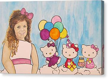 Canvas Print featuring the painting Mika Hello Kitty by Tamir Barkan