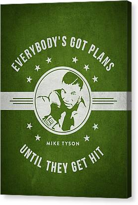 Mike Tyson - Green Canvas Print by Aged Pixel