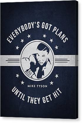 Mike Tyson - Navy Blue Canvas Print by Aged Pixel
