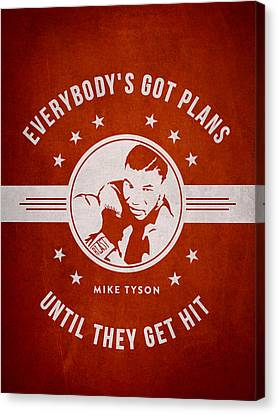 Mike Tyson - Red Canvas Print by Aged Pixel