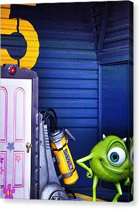 Mike With Boo's Door - Monsters Inc. In Disneyland Paris Canvas Print by Marianna Mills