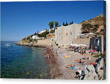 Mikro Kamini Beach Canvas Print by George Atsametakis
