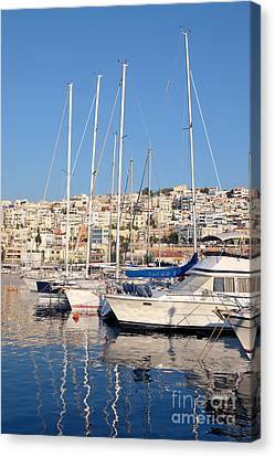 Yachts Canvas Print - Mikrolimano Port by George Atsametakis