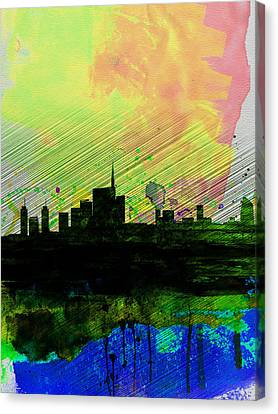 Milan Watercolor Skyline 2 Canvas Print by Naxart Studio