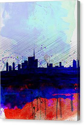 Milan Watercolor Skyline Canvas Print by Naxart Studio