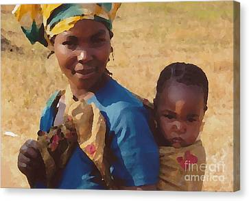 Milawi Mother And Child Canvas Print by Joyce Gebauer