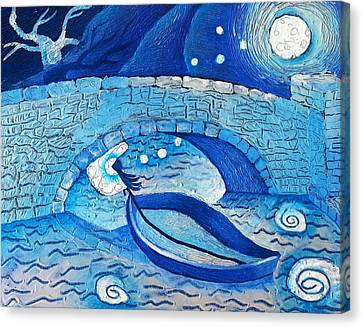 Mild Night Winds Blowing A Wish Under A Bridge Canvas Print