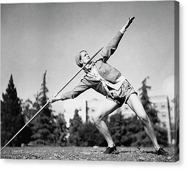 Javelin Canvas Print - Mildred Babe Didrikson Holding A Javelin by Acme