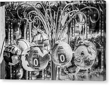 Us1 Canvas Print - Mile Marker 0 Christmas Decorations Key West 2 - Black And White by Ian Monk