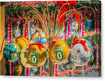 Us1 Canvas Print - Mile Marker 0 Christmas Decorations Key West 2 - Hdr Style by Ian Monk