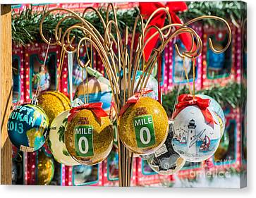 Us1 Canvas Print - Mile Marker 0 Christmas Decorations Key West 2 by Ian Monk