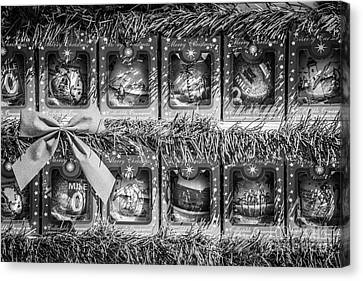 Us1 Canvas Print - Mile Marker 0 Christmas Decorations Key West 4 - Black And White by Ian Monk