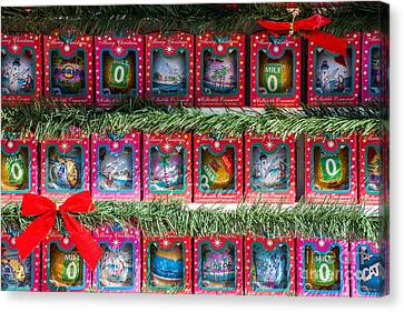 Us1 Canvas Print - Mile Marker 0 Christmas Decorations Key West by Ian Monk