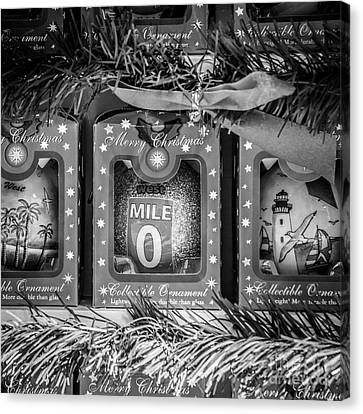Us1 Canvas Print - Mile Marker 0 Christmas Decorations Key West - Square - Black And White by Ian Monk