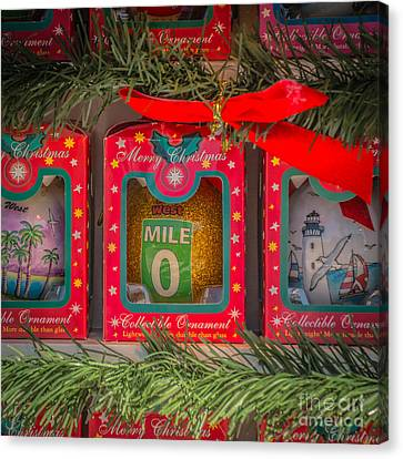 Us1 Canvas Print - Mile Marker 0 Christmas Decorations Key West - Square - Hdr Style by Ian Monk