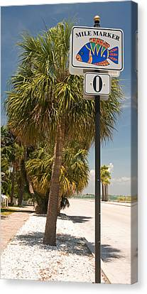 Mile Marker Zero At Pass-a-grille, St Canvas Print