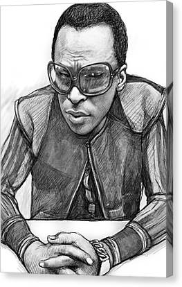 Miles Davis Art Drawing Sketch Portrait Canvas Print by Kim Wang