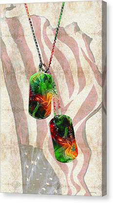 Military Art Dog Tags - Honor 2 - By Sharon Cummings Canvas Print by Sharon Cummings