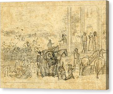 Plantation Canvas Print - Military Encampment At Plantation House, 1864, Drawing by Quint Lox