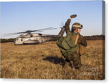 Military Policeman Signals To The Other Canvas Print