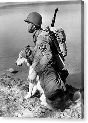 Military Soldier And Dog Vintage  Canvas Print