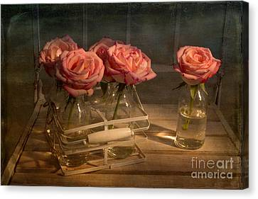 Milk Bottle Roses Canvas Print by Ann Garrett